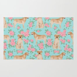 Yellow Labrador Retriever dog breed pet portraits floral dog pattern gifts for dog lover Rug