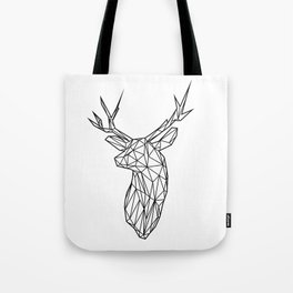Black Line Faceted Stag Trophy Head Tote Bag
