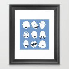 Famous Moustaches blue Framed Art Print