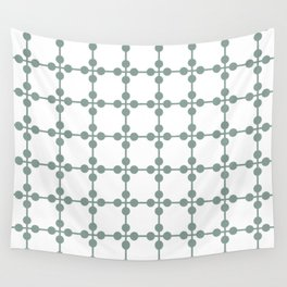 Droplets Pattern - Sage Green & White Wall Tapestry