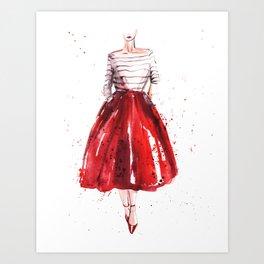 Red skirt / red lips Art Print