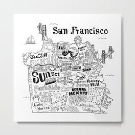 San Francisco Map Illustration Metal Print