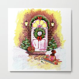 Near the front door are a sledge with gifts. Christmas night Metal Print