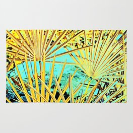 Yellow Space Palm Leaves Rug