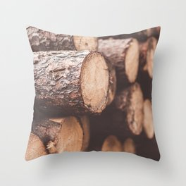 Stack of Felled Trees Close Up Throw Pillow