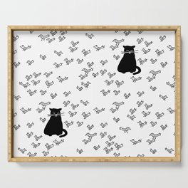 Cat and Birds with Attitude Serving Tray