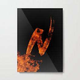 Burning on Fire Letter N Metal Print