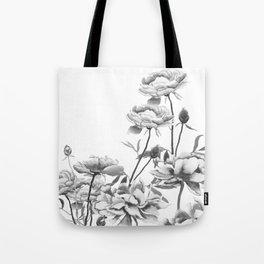 black and white peonies Tote Bag
