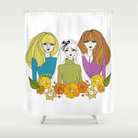 60s Shower Curtains featuring 60s girls by Bunny Miele