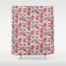 Crimson and Silver Floral Shower Curtain