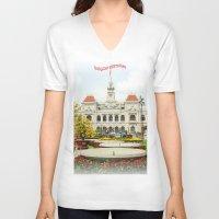 vietnam V-neck T-shirts featuring saigon-vietnam by nguyenkhacthanh