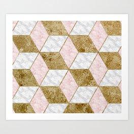 Dazzling marble geo - golden Art Print