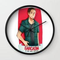 sarcasm Wall Clocks featuring Sarcasm by IanShan
