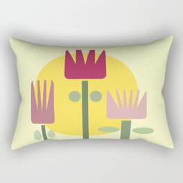 Mid Century Modern Flowers Rectangular Pillow