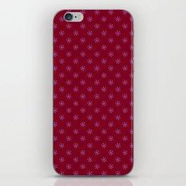 Lavender Violet on Burgundy Red Snowflakes iPhone Skin