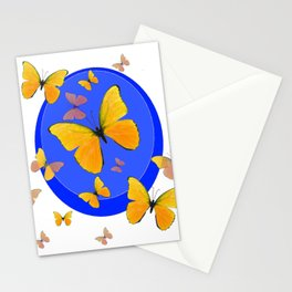 YELLOW BUTTERFLIES SWARM & BLUE RING MODERN ART Stationery Cards