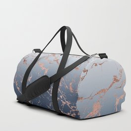 Modern grey navy blue ombre rose gold marble pattern Duffle Bag