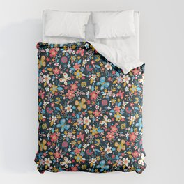 Ditsy Bugs and Butterflies Floral on Black Comforters