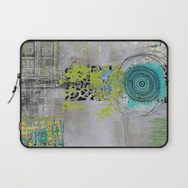 Teal & Lime Round Abstract Art Collage Laptop Sleeve