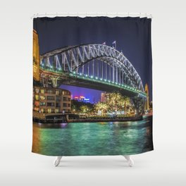 Sydney Harbor Bridge at Night Shower Curtain