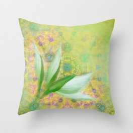 Bauhinia buds against textured green background Throw Pillow