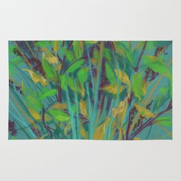 Autumn bouquet on teal background Rug