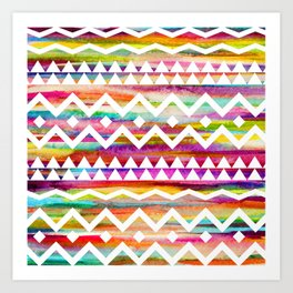 Aztek watercolor pattern Art Print