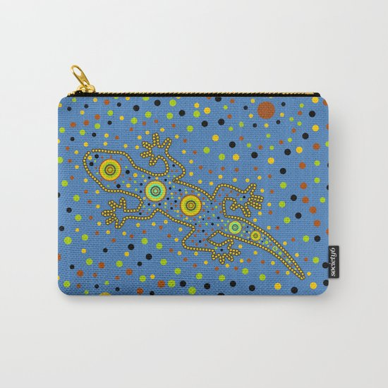 Lizard- aboriginal in blue Carry-All Pouch