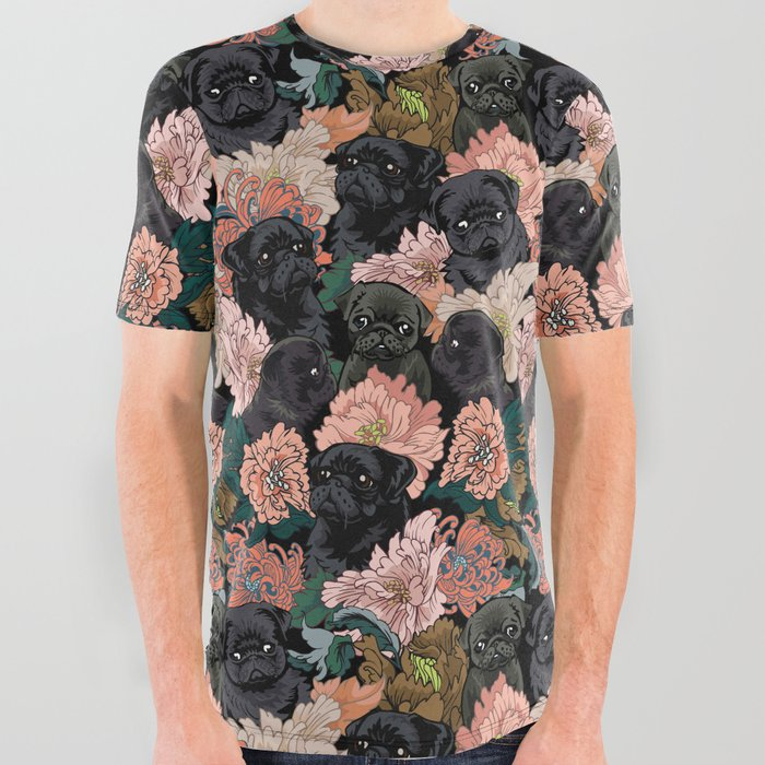 Because Black Pug All Over Graphic Tee