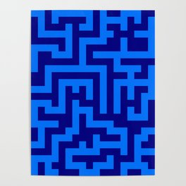 Brandeis Blue and Navy Blue Labyrinth Poster