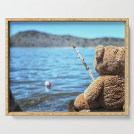 Come on Walter said the fishing teddy bear Serving Tray
