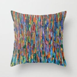 Bright Colorful Abstract Art with Red, Blue, Green, Purple, Yellow, Multicolor Striped Lines Throw Pillow