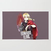 fullmetal Area & Throw Rugs featuring Edward by KanaHyde