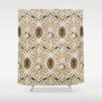 clockwork Shower Curtains featuring Clockwork Valentine by Alex Morgan