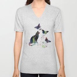 Colorful Cat Art Unisex V-Neck