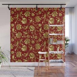 Dark Red & Gold Floral Damasks Pattern Wall Mural