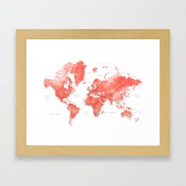 Living coral watercolor world map with cities Framed Art Print