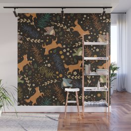 Autumn Woodsy Floral Forest Pattern With Foxes And Birds Wall Mural