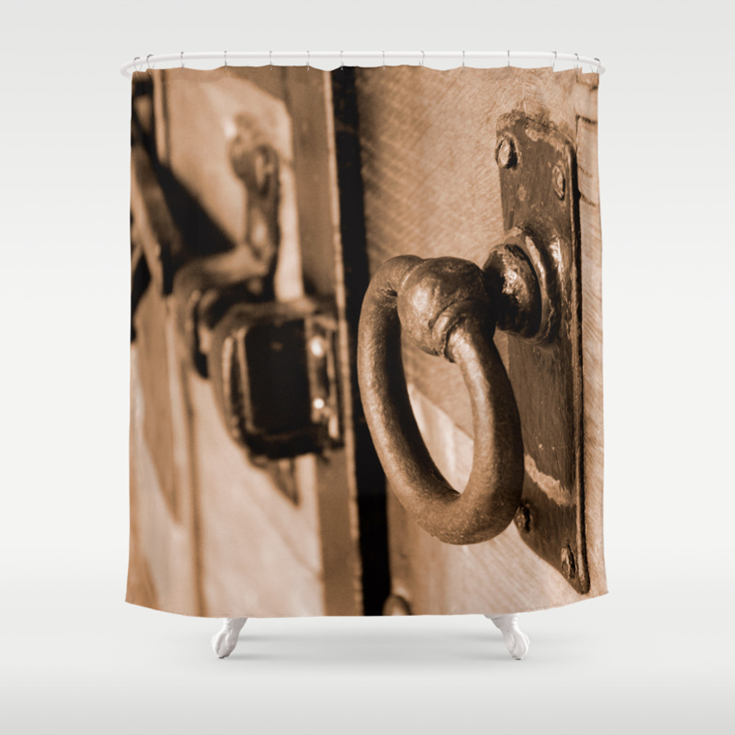 Rustic Antique Door Handle Pull And Latch Sepia Shower Curtain