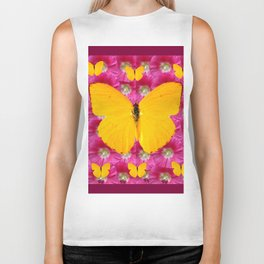GOLDEN BUTTERFLIES ON FUCHSIA PINK Biker Tank