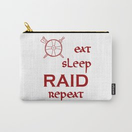 eat-sleep-RAID-repeat red, Vikings Carry-All Pouch