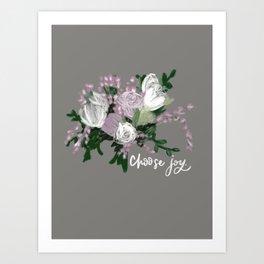 Choose Joy Flower Bouquet Hand Lettered Oil Painting Digital Modern Wall Decor Art Print
