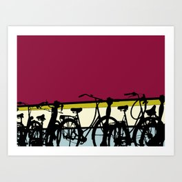 On your bike (Red & Cream) Art Print