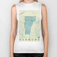 vermont Biker Tanks featuring Vermont State Map Blue Vintage by City Art Posters