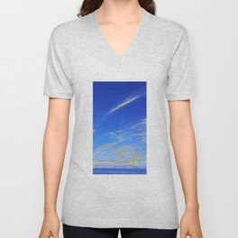 Mediterranean sky with mountains Unisex V-Neck