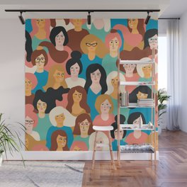 CUTE ALL-OVER WOMENS MARCH PATTERN Wall Mural