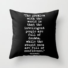 Charles Bukowski Typewriter White Font Quote Confidence Throw Pillow