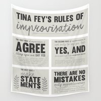 tina crespo Wall Tapestries featuring Tina Fey's Rules of Improvisation by lidia