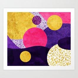 Terrazzo galaxy purple night yellow gold pink Art Print