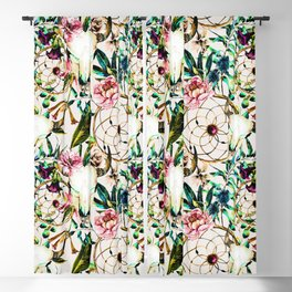 Bohemian Skull Pattern Flowery Vibrant Colors Blackout Curtain